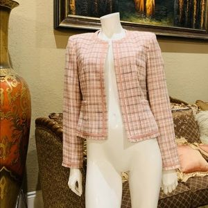 Kate Hill Multicolor Pink Ivory Tweed Jacket sz 4